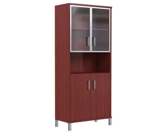 Шкаф для документов высокий с малыми стеклянными дверьми в AL-рамке В-430.9 Бургунди Skyland Born 900х435х1904, Цвет товара: бургунди