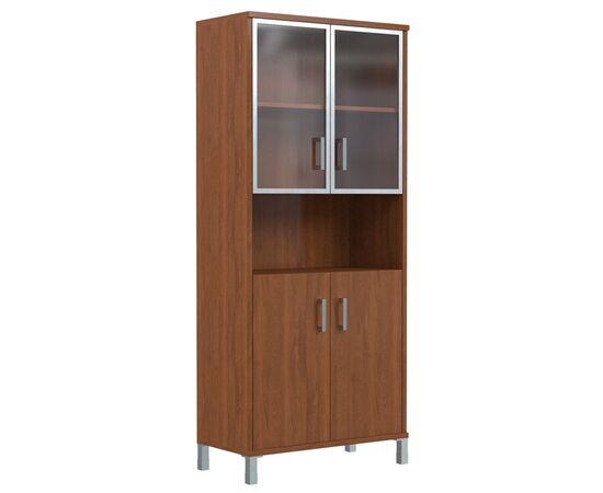 Шкаф для документов высокий с малыми стеклянными дверьми в AL-рамке В-430.9 Орех Даллас Skyland Born 900х435х1904, Цвет товара: Орех гарда