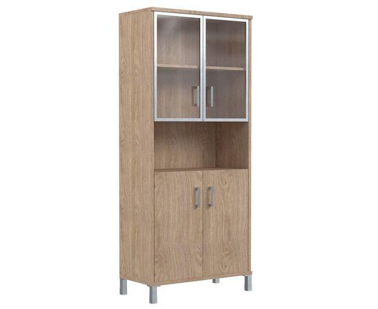 Шкаф для документов высокий с малыми стеклянными дверьми в AL-рамке В-430.9 Дуб девон Skyland Born 900х435х1904, Цвет товара: Дуб девон