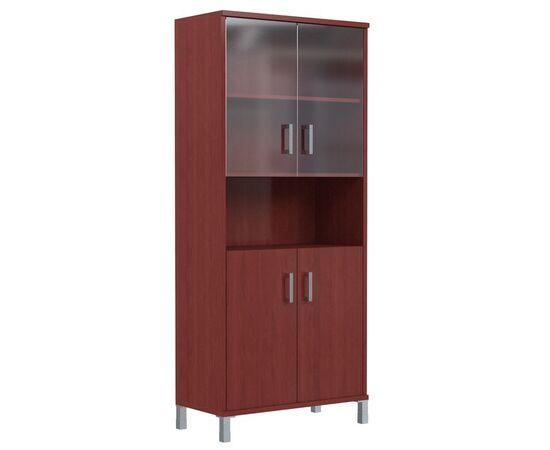 Шкаф для документов высокий с малыми стеклянными и глухими дверьми В-430.10 Бургунди Skyland Born 900х435х1904, Цвет товара: бургунди