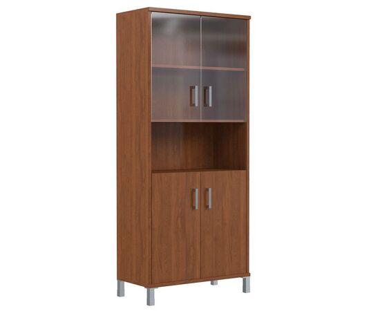 Шкаф для документов высокий с малыми стеклянными и глухими дверьми В-430.10 Орех гарда Skyland Born 900х435х1904, Цвет товара: Орех гарда