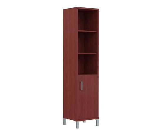 Шкаф-колонка высокая с глухой малой дверью для документов В-431.2 Бургунди Skyland Born 475х450х2054, Цвет товара: бургунди