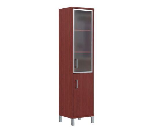 Шкаф-колонка с правой стеклянной дверкой в алюминиевой раме для документов В-431.4R Бургунди Skyland Born 475х450х2054, Цвет товара: бургунди