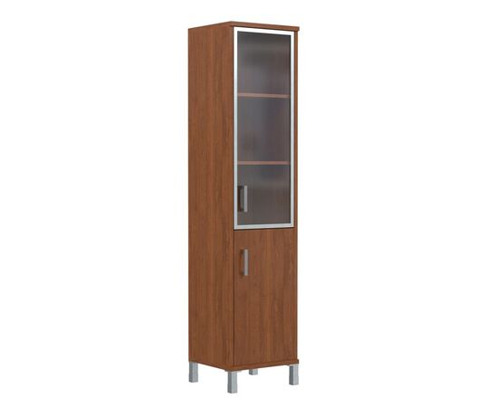Шкаф-колонка с правой стеклянной дверкой в алюминиевой раме для документов В-431.4R Орех гарда Skyland Born 475х450х2054, Цвет товара: Орех гарда