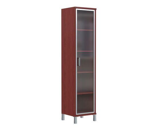 Шкаф-колонка высокая со стеклянной дверью в AL-рамке для документов в офис-В-431.8 Бургунди Skyland Born 475х435х1904, Цвет товара: бургунди