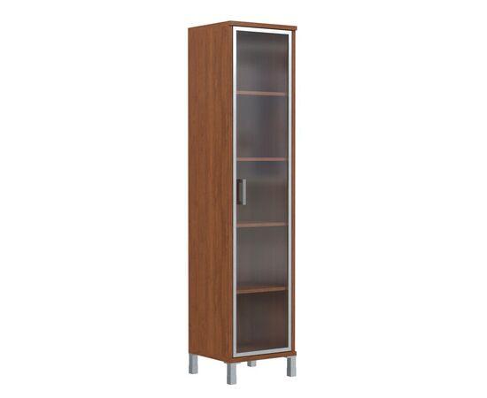 Шкаф-колонка высокая со стеклянной дверью в AL-рамке для документов в офис-В-431.8 Орех Даллас Skyland Born 475х435х1904, Цвет товара: Орех гарда