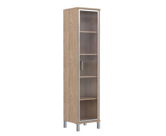 Шкаф-колонка высокая со стеклянной дверью в AL-рамке для документов в офис-В-431.8 Дуб девон Skyland Born 475х435х1904, Цвет товара: Дуб девон