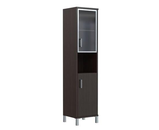Шкаф-колонка высокая с малой стеклянной дверью в AL-рамке для документов В-431.9 Бургунди Skyland Born 475х435х1904, Цвет товара: бургунди