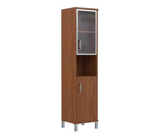Шкаф-колонка высокая с малой стеклянной дверью в AL-рамке для документов В-431.9 Орех гарда Skyland Born 475х435х1904, Цвет товара: Орех гарда