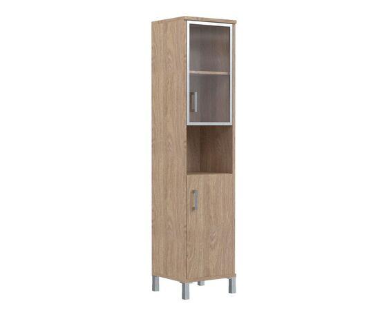 Шкаф-колонка высокая с малой стеклянной дверью в AL-рамке для документов В-431.9 Дуб девон Skyland Born 475х435х1904, Цвет товара: Дуб девон