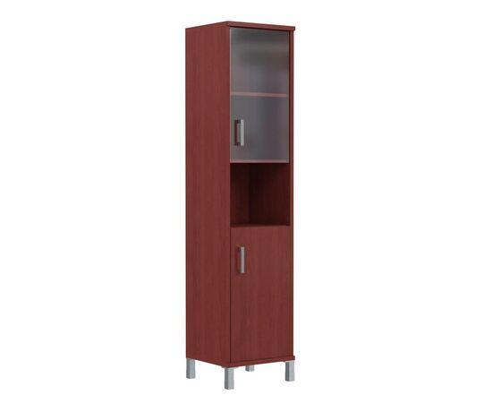 Шкаф-колонка высокая с малой стеклянной дверью и глухой для документов B-431.10 Бургунди Skyland Born 475х435х1904, Цвет товара: бургунди