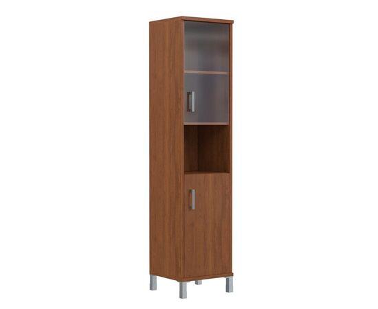 Шкаф-колонка высокая с малой стеклянной дверью и глухой для документов B-431.10 Орех Даллас Skyland Born 475х435х1904, Цвет товара: Орех гарда