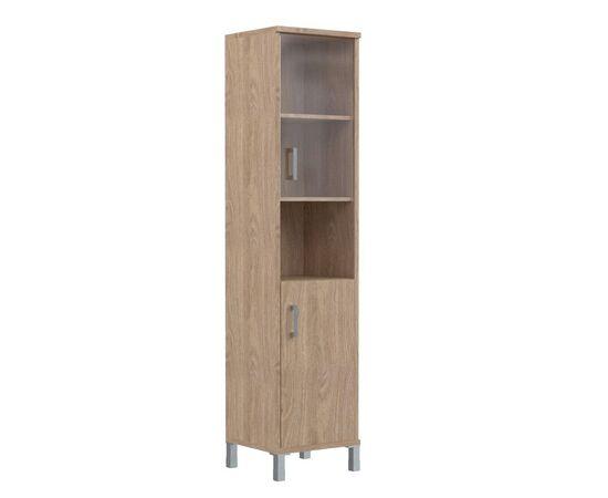 Шкаф-колонка высокая с малой стеклянной дверью и глухой для документов B-431.10 Дуб девон Skyland Born 475х435х1904, Цвет товара: Дуб девон
